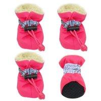 【紐を絞る モコモコタイプ】ペット用 スノーブーツ 1足セット(左右セット)