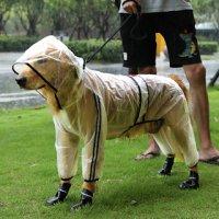 中型・大型犬用 レインコート クリア×ブラック 雨の日 お散歩 雨具