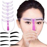 【眉ステンシル アイブロウステンシル】8種類 眉毛 テンプレート パープル
