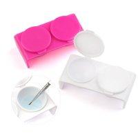 ダッペンディッシュ Wダッペン スカルプチュアの必需品 プラスチック製 蓋付き【アクリル ネイル】