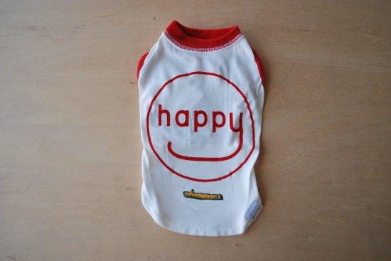 アウトラスト happy Tシャツ ホワイト×レッド