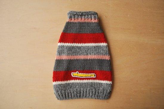 MULTI STRIPE ドッグセーター レッド/グレー