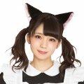 ●送料無料●猫耳カチューシャ ふせ耳 黒×ピンク