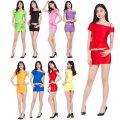 ●送料無料●ツルツルニット 半袖 ショート丈 左オフショルダーシャツ + 超ミニ タイトスカート 上下セット 色:選択可能 サイズ:レディースML