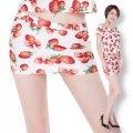 ●送料無料●イチゴ柄 ツルツルニット ローライズ 超ミニ タイトスカート サイズ:レディース/特大/超特大100kg
