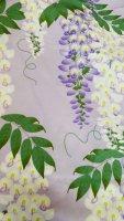 セオアルファ製 薄紫地に濃い紫と白い藤