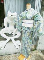 【即納品・マットガーゼ製】孔雀の羽根柄 大人エレガンス!(単衣/浴衣)