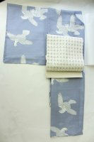 【マットガーゼ製】大人綺麗、薄い水色地に鳥(単衣/浴衣)