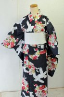 【即納品・セオアルファ製】とても可愛い黒地に白鳩(単衣/浴衣)