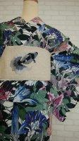 麻製 金魚の刺繍のフリル帯