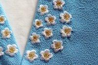 さわやか♪白い花柄の刺繍半襟