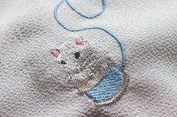 干支の白ネズミ柄 刺繍半襟
