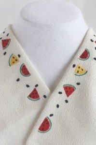 「スイカ大好き」刺繍半襟