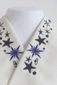 クールなブルー&ブラックスター刺繍半襟