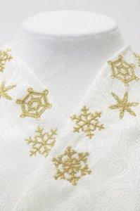 金糸の雪の結晶が美しい刺繍半襟