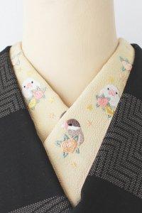 シナモン文鳥の刺繍半襟(クリーム)