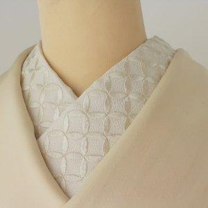 七宝柄の刺繍半襟(生地は純白、刺繍糸が生成り色)