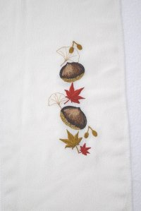 難あり 栗と紅葉の刺繍半襟*刺繍18cm丈