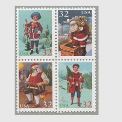 アメリカ 1995年クリスマス サンタクロースと子供4種連刷