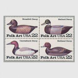 アメリカ 1985年民芸品 デコイ4種連刷
