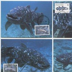 コモロ諸島 1998年シーラカンス切手4種とマキシムカードセット