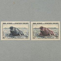 仏領南方南極地方 1956年ケルゲレン島のゾウアザラシ2種