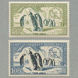仏領南方南極地方 1956年アデリーランドのコウテイペンギン2種