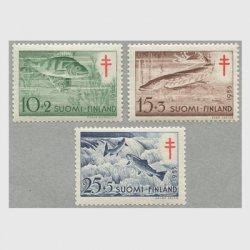 フィンランド 1955年複十字切手  魚3種