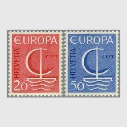 スイス 1966年ヨーロッパ切手2種「帆船」