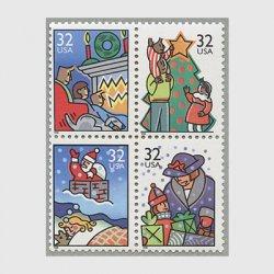 アメリカ 1996年クリスマス4種連刷
