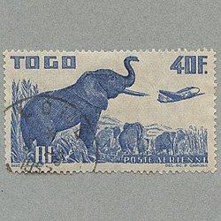 トーゴ 1947年航空40fアフリカゾウと飛行機 使用済み