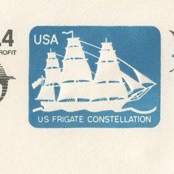 切手付封筒 アメリカ1988年軍船(サイズ大)