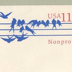 切手付封筒 アメリカ1991年鳥(大)