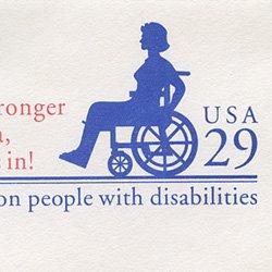 切手付封筒 アメリカ1992年車椅子(小)