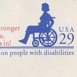 切手付封筒 アメリカ1992年車椅子(大)