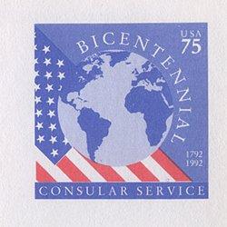 切手付封筒 アメリカ1992年公用75c