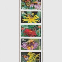 アメリカ 2017年蝶と蜂5種連刷