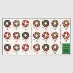 アメリカ 1998年クリスマス リース切手帳ペーン20枚連刷
