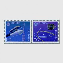 スイス 1991年ヨーロッパ切手 アリアンロケット(50c)2種