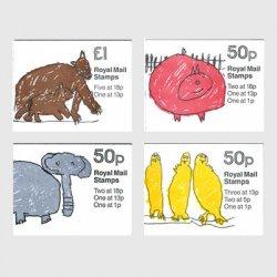 イギリス 切手帳「ロンドン動物園」4種