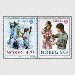 ノルウェー 1989年ヨーロッパ切手 子供の遊び2種