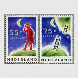 オランダ 1991年ヨーロッパ切手 月と旅人2種
