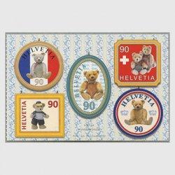スイス 2002年テディベア100年5種シール式