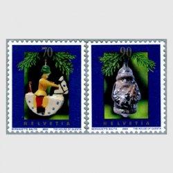 スイス 2003年ガラス製のサンタクロース(90c)など2種