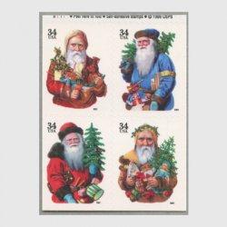 アメリカ 2001年クリスマス4種(年号文字小)