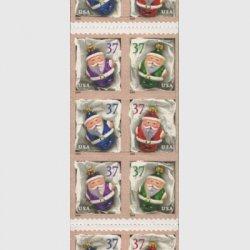 アメリカ 2004年クリマス サンタクロースのオーナメント(ルレット10.3x10.8)切手帳