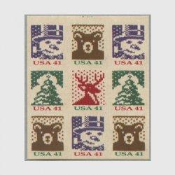 アメリカ 2007年クリスマス ニット(ルレット8)9枚ブロック