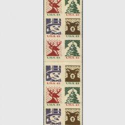 アメリカ 2007年クリスマス ニット(印面小)切手帳ペーン