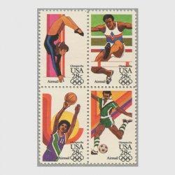 アメリカ 1983年航空切手 オリンピック28c 4種連刷