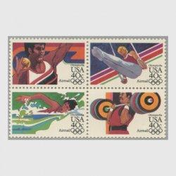アメリカ 1983年航空切手 オリンピック40c 4種連刷
